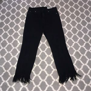 PISTOLA BLACK JEANS WITH FRINGE BOTTOM